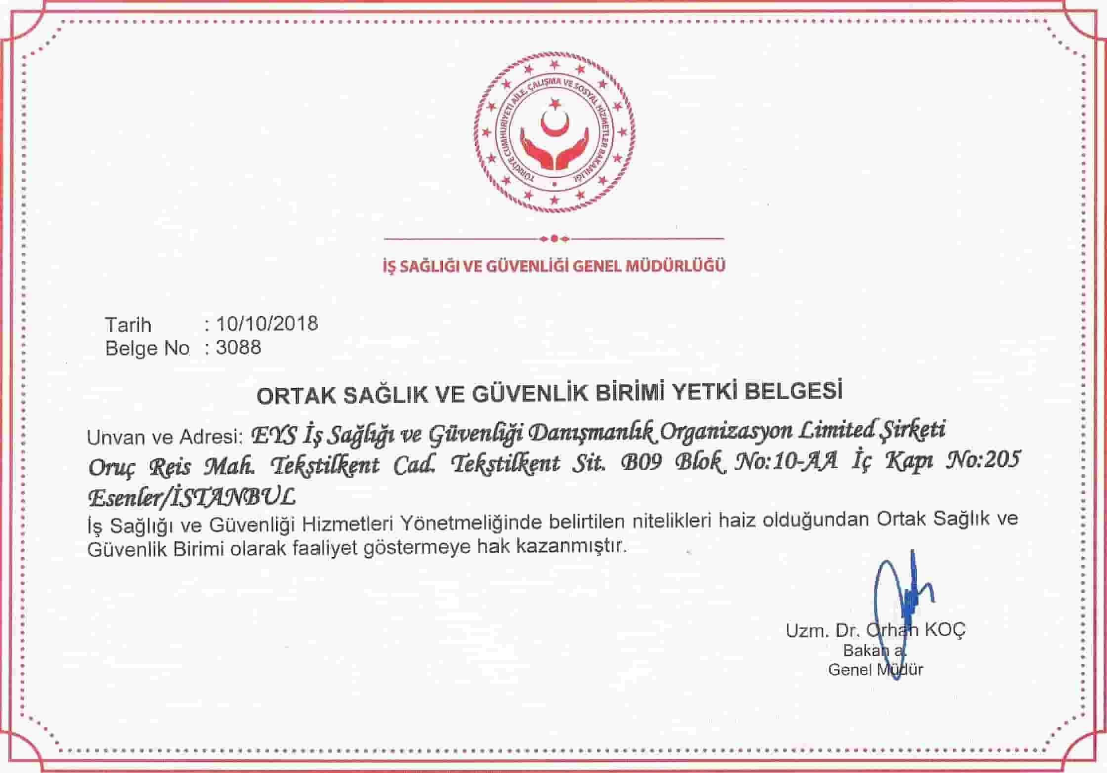 istanbul osgb hizmetini yapabilmek adına yetki belgemizi aldık